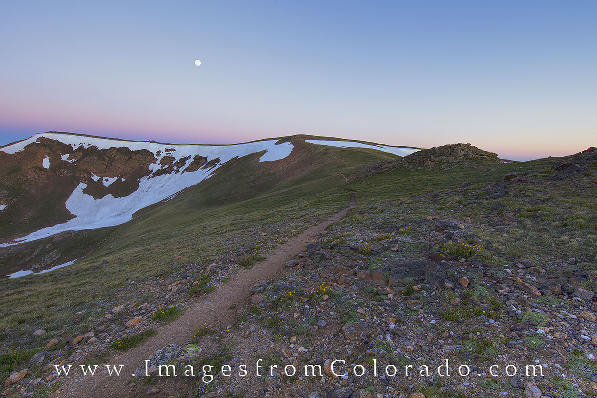 continental divide, Continental Divide Trail, full moon, hiking, hiking colorado, colorado trails, berthoud pass, berthoud pass trail, photo