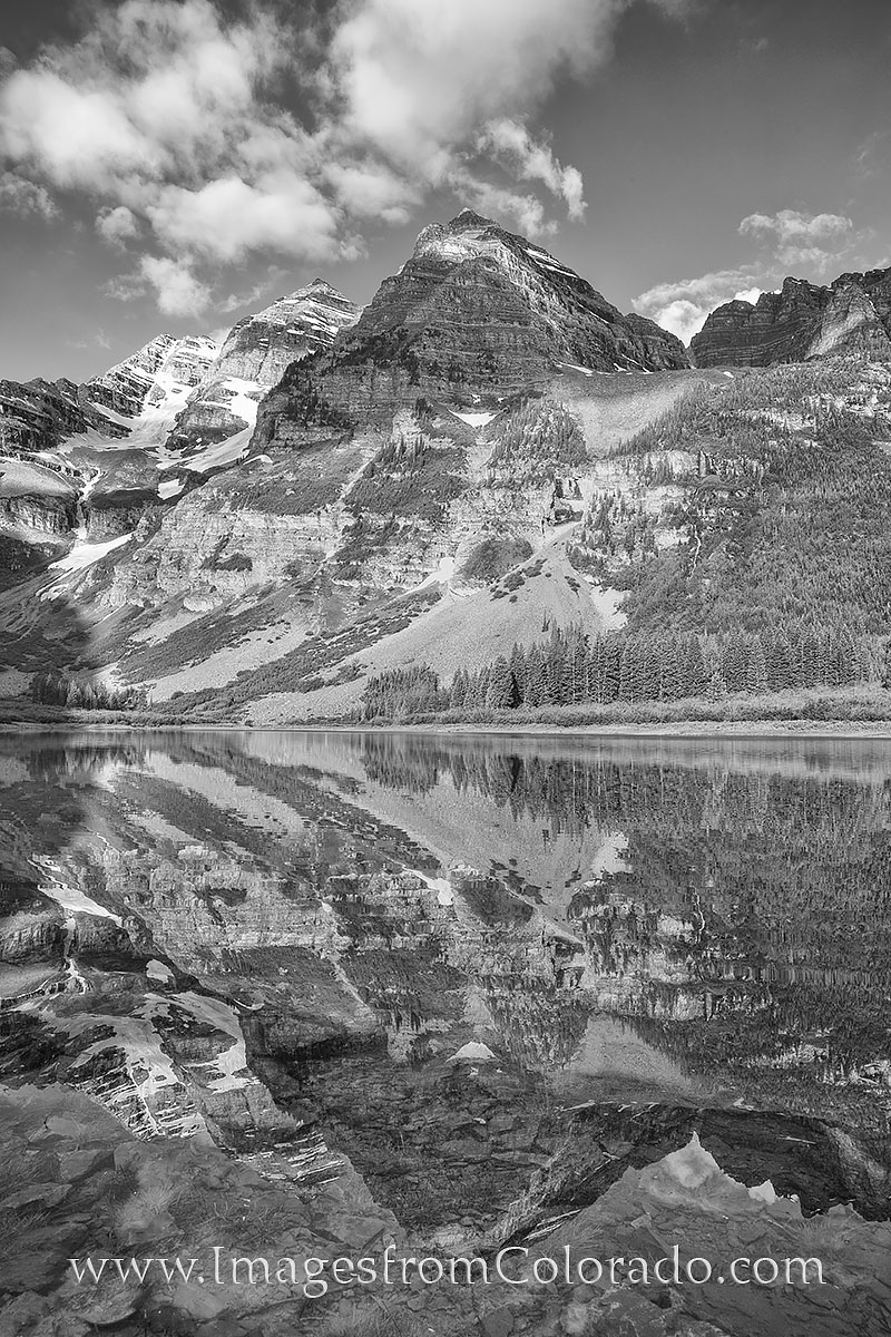black and white, colorado, maroon bells, crater lake, maroon lake, aspen, maroon bells wilderness, 14ers, photo