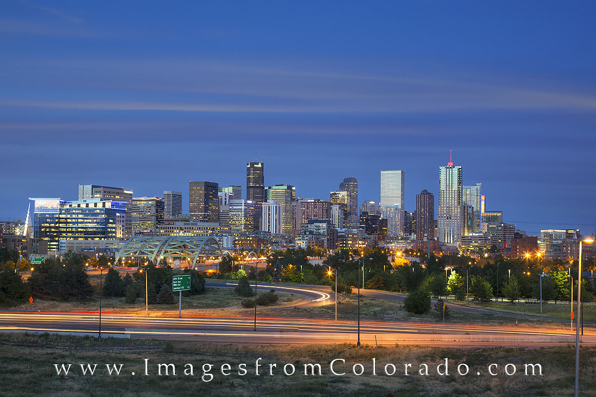 denver skyline images, denver skyline prints, denver colorado, downtown, cityscape, speer boulevard bridge, photo