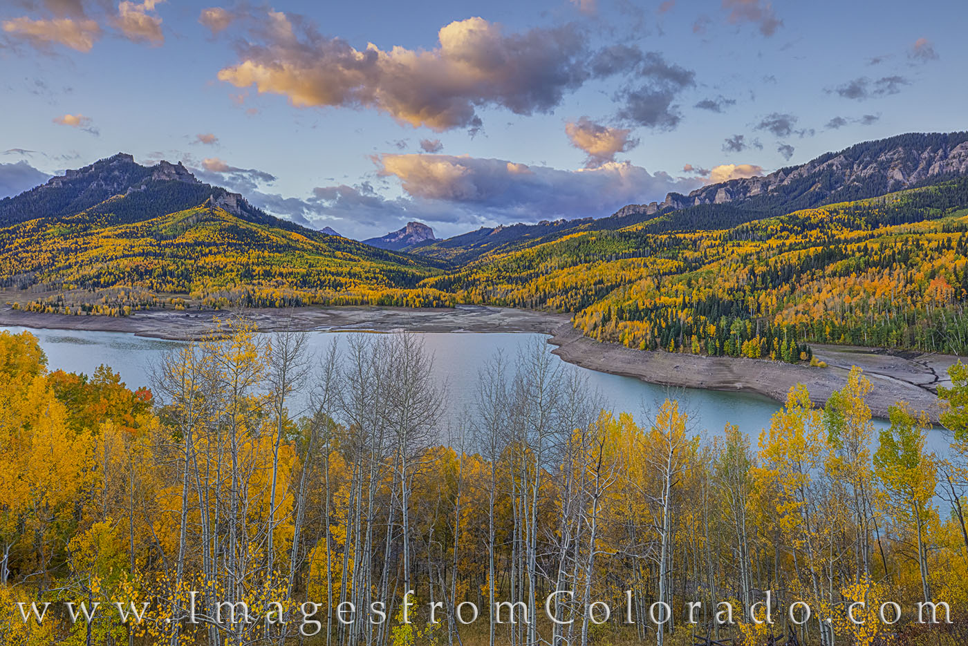 silver jack, cimarron, owl pass, ouray, fall, autumn, aspen, morning, photo