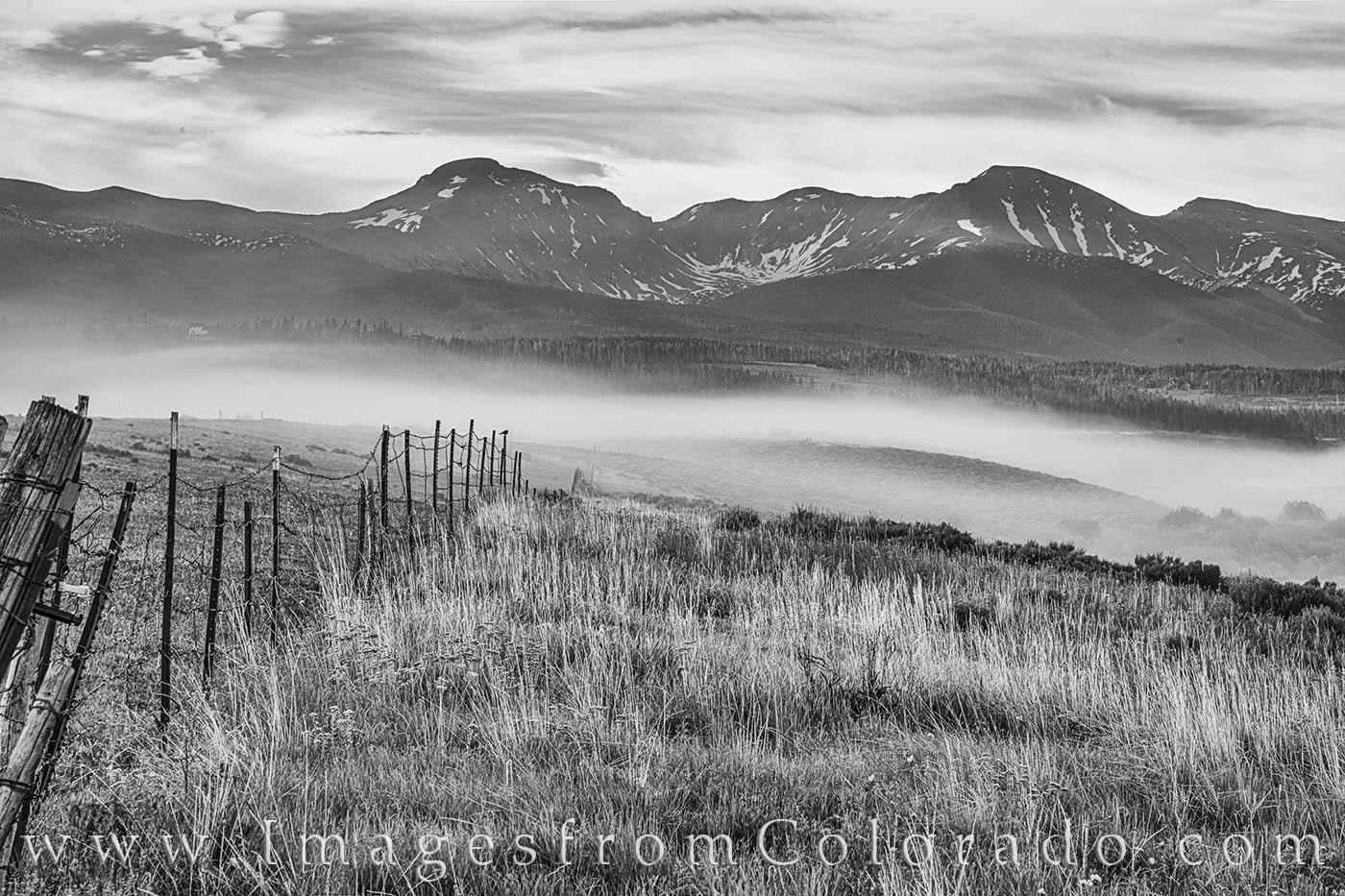 fraser valley, james peak, parry peak, fog, black and white, colorado prints, morning, summer, fence, photo