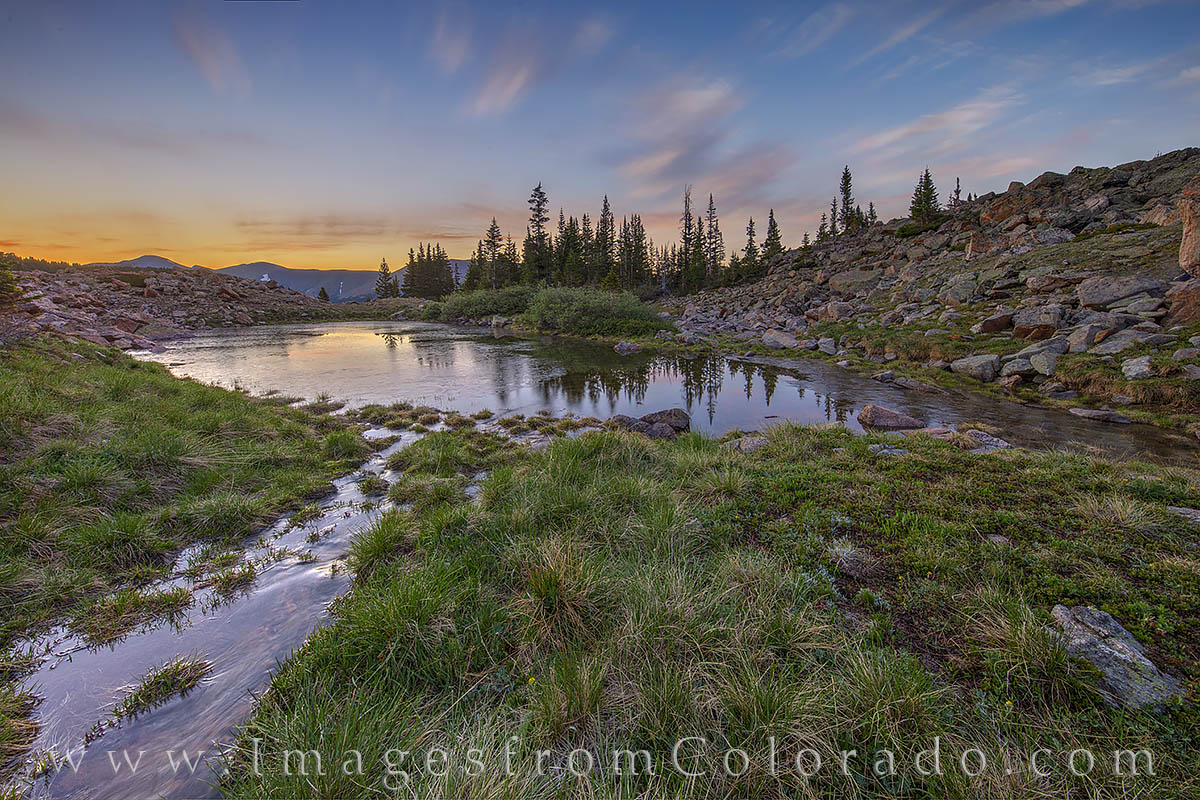 berthoud pass, pond, frozen, July, sunrise, winter park, highway 40, current creek, photo
