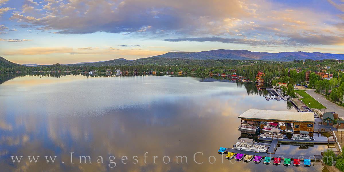 grand lake, panorama, summer, grand county, rocky mountains, east inlets, drone, aerial, photo