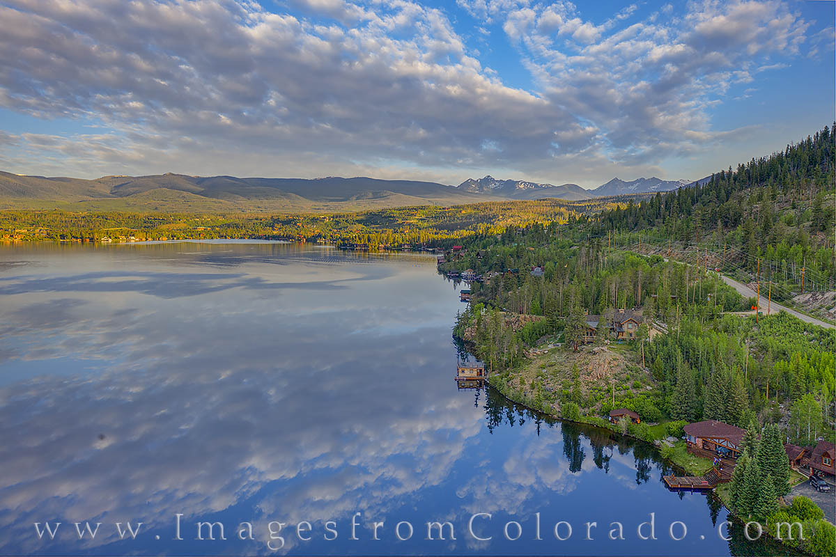 grand lake, drone, aerial, morning, reflection, rocky mountains, photo