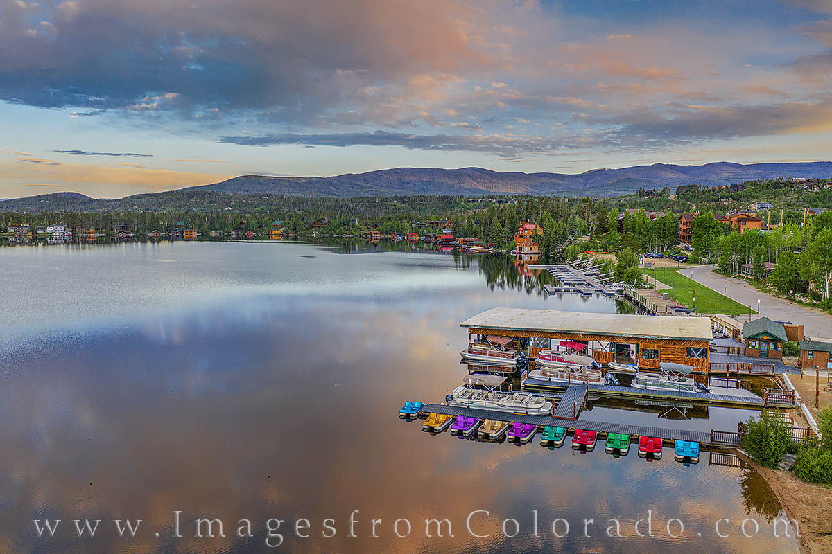 grand lake, sunrise, morning, color, summer, boats, drone, aerial, photo