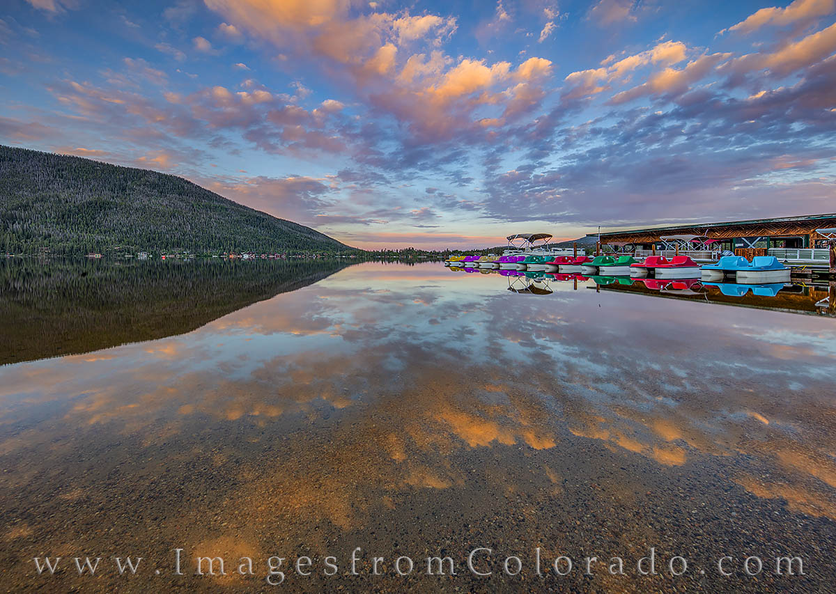 grand lake, boats, sunrise, reflection, morning, still, grand county, colorado prints, grand lake prints, photo