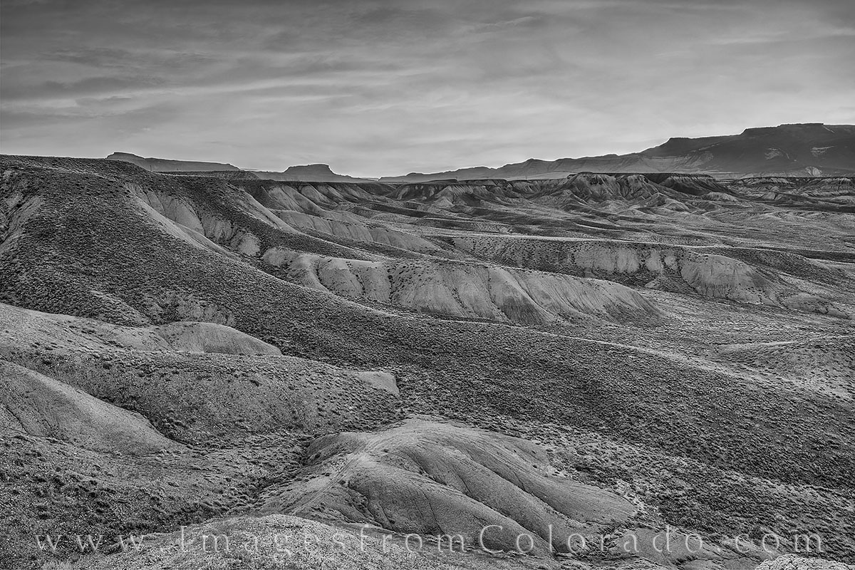 grand mesa, western slope, layers, mount Garfield, grand junction, sunrise, morning, desert, black and white, photo