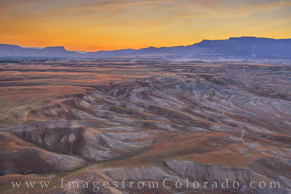 grand mesa, desert, western slope, aerial, drone, sunrise, photo
