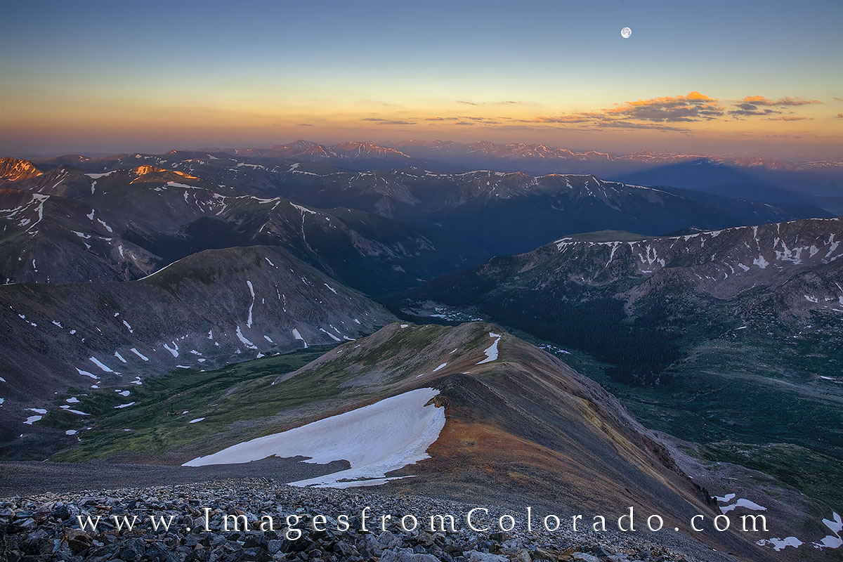 14ers, grays peak, grays peak images, colorado images, colorado moonset, colorado sunrise, colorado summit, 14ers images, photo