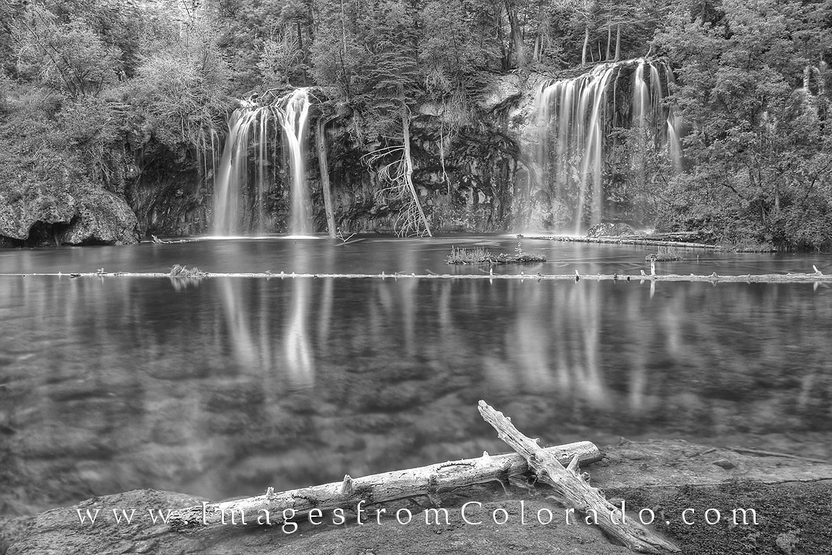hanging lake, black and white images, glenwood springs, colorado waterfalls, hanging lake falls, rocky mountains, colorado landscapes, photo