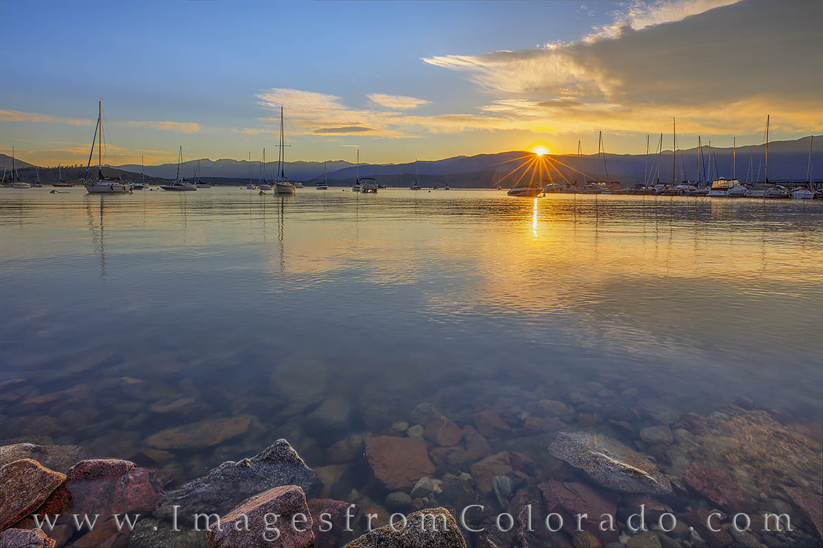 lake granby, boats, sunrise, harbor, rocky mountains, morning, summer, colorado prints, photo