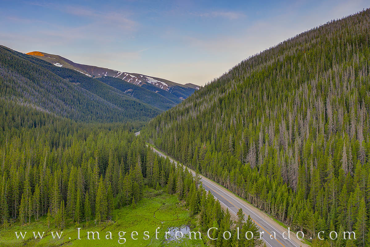 Berthoud Pass; Grand County; Highway 40; aerial; drone; morning; drive; mountains, photo