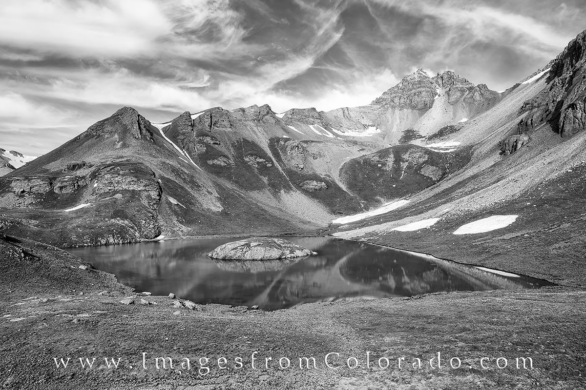 island lake, san juan mountains, silverton, silverton colorado, colorado hikes, black and white images, black and white, island lake hike, photo