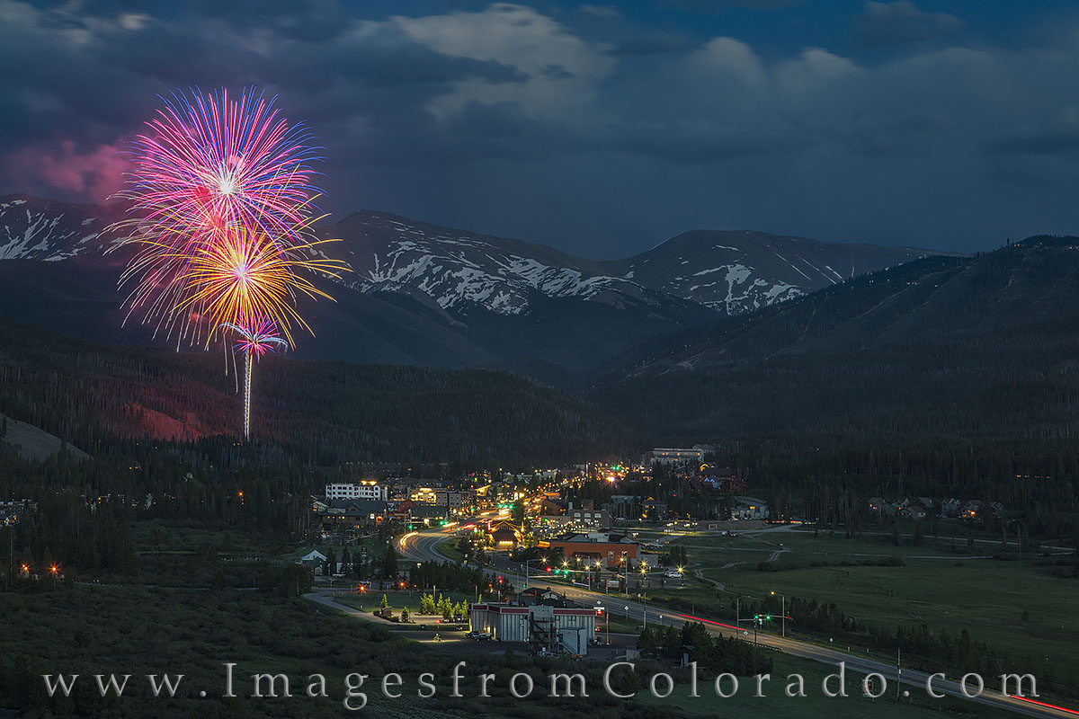 fireworks, winter park, colorado, grand county, parry peak, continental divide, hideway park, july 4, celebration, highway 40, photo
