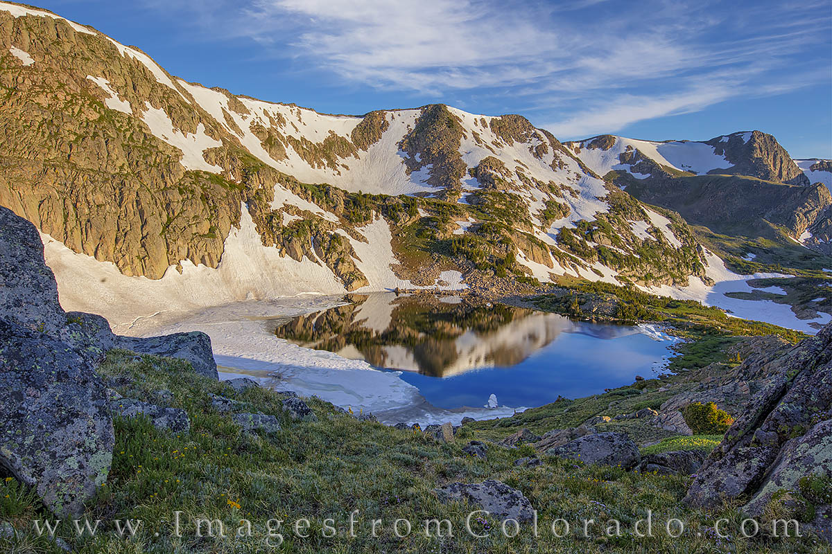 king lake, morning, hike, continental divide, rollins pass, blue, prints, exploring, grand county, photo