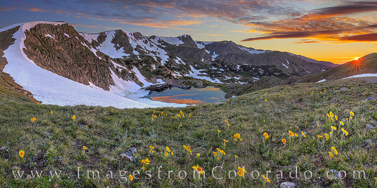 old man of the mountain, sunflowers, king lake, rollins pass, corona, sunrise, mountain lakes, winter park, grand county, photo