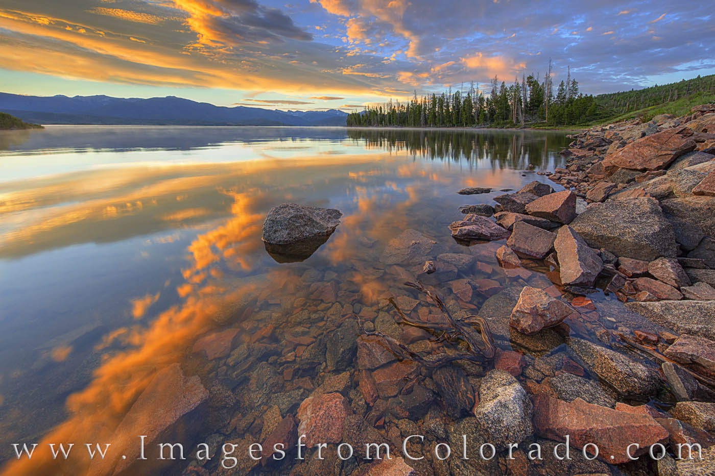 lake granby, sunrise, rocks, grand county, peace, highway 34, prints for sale, colorado prints, photo