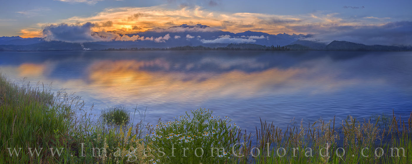 lake granby, highway 34, grand county, sunrise, lake, colors, daisies, wildflowers, morning, winter park, grand lake, granby, panorama, photo