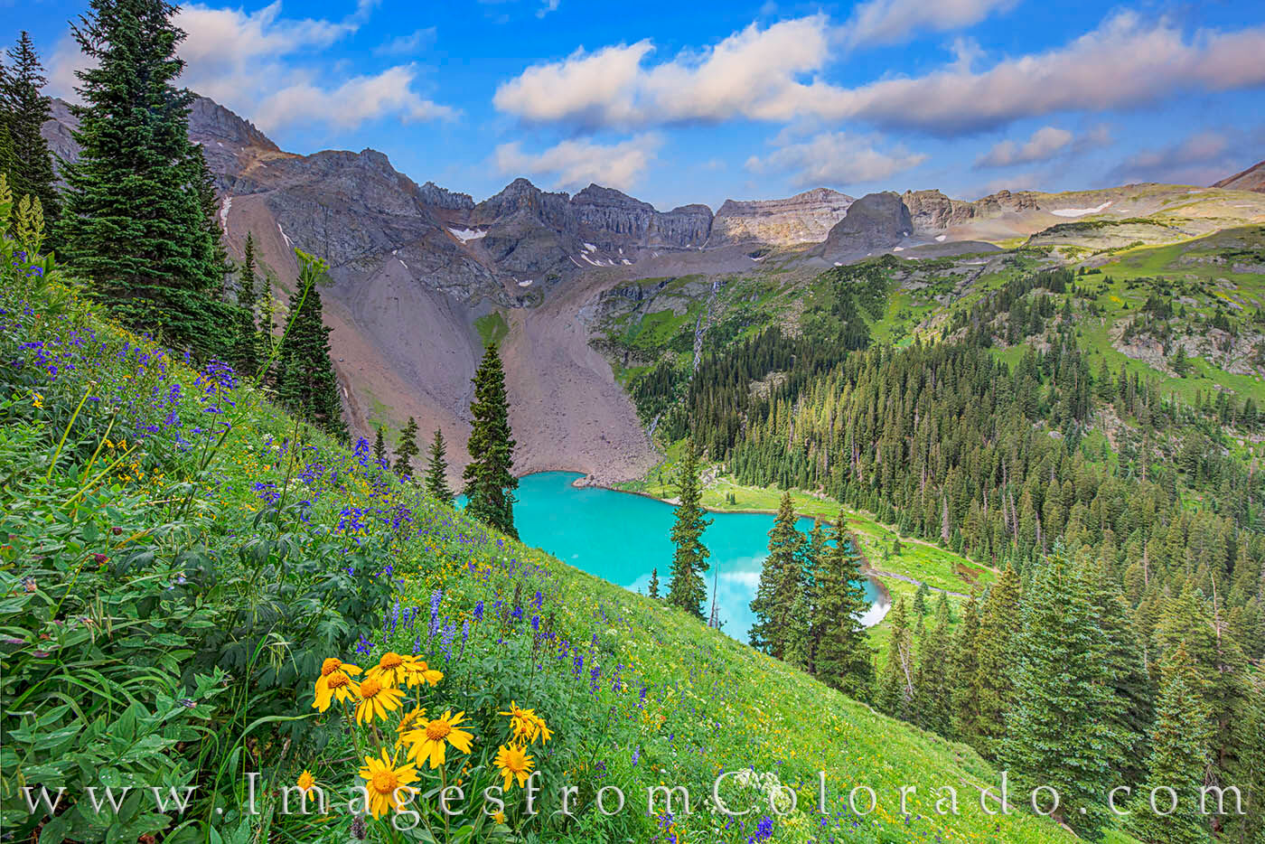 From the steep slopes above the photogenic Lower Blue Lake, wildflowers add their own color to a stunning scene. Taken in the...