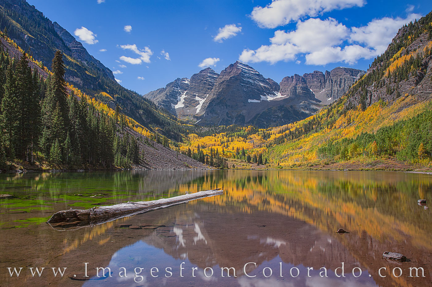 On a pristine Autumn morning in the Elk Mountains, the aspen trees of Maroon Bells and Maroon Lake put on a colorful display...