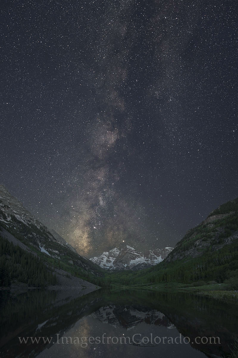 This milky way photograph comes from one of the most beautiful spots in Colorado - the Maroon Bells and Maroon Lake just outside...