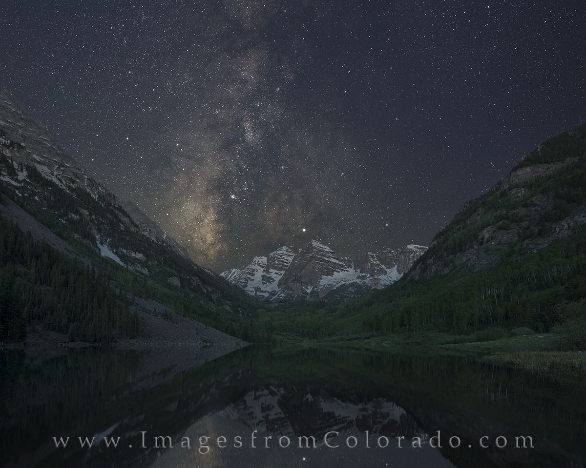 From Maroon Lake in the Maroon Bells Wilderness, ths is the Milky Way rising over this beautiful Colorado landscape around 3:...
