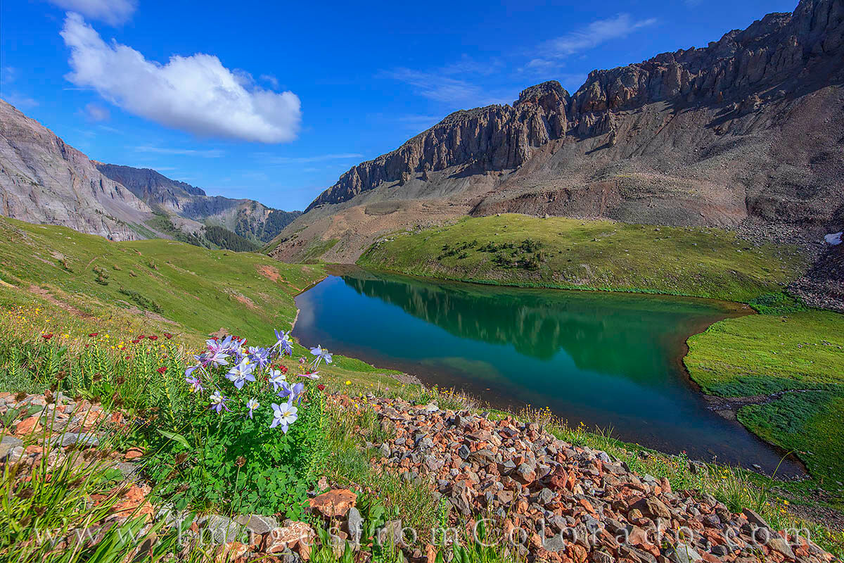 The Middle Blue Lake along the Blue Lakes Trail near Ouray, Colorado, was beautiful on this morning. The water was still and...