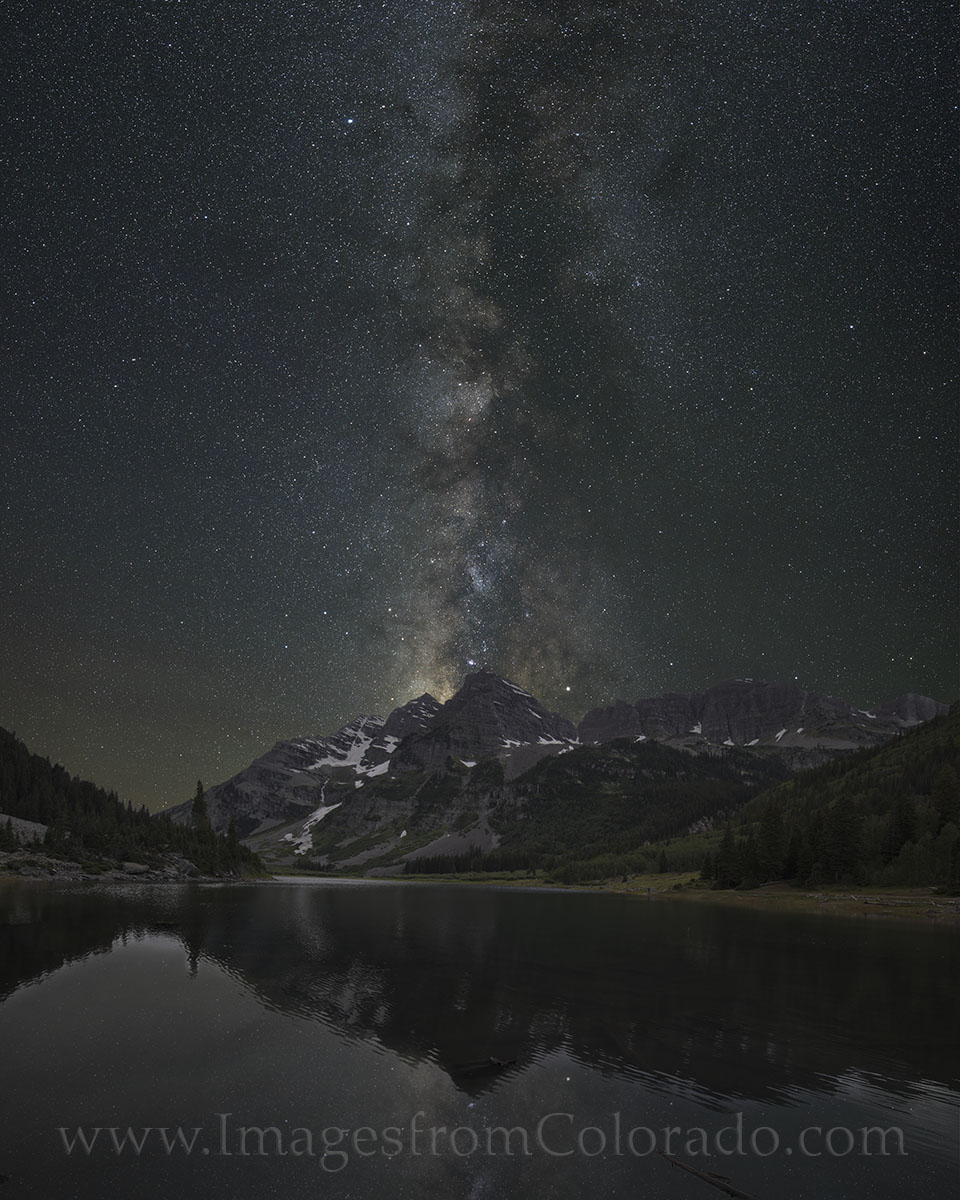 milky way, maroon bells, crater lake, maroon bells images, milky way images, milky way over colorado, colorado night sky, 14ers, colorado photos, night sky images, photo