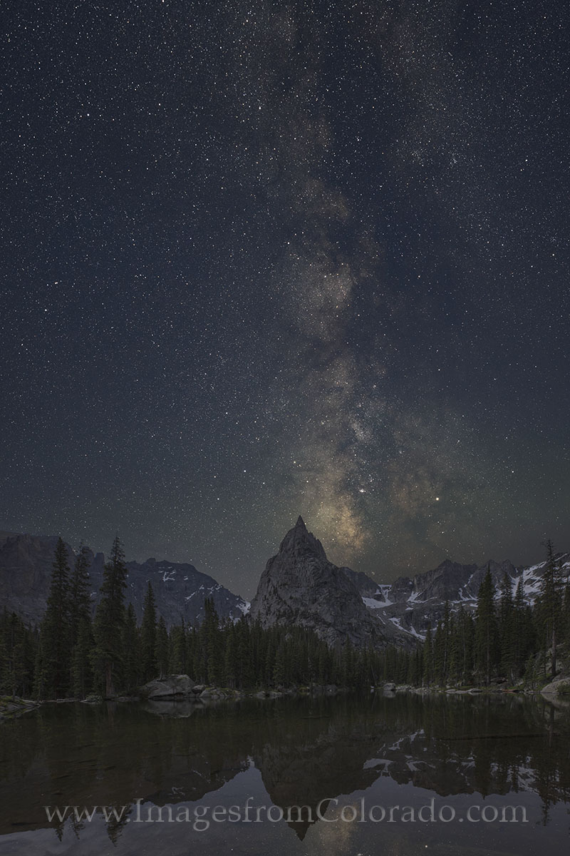 lone eagle peak, milky way, mirror lake, grand county, night sky, colorado milky way, monarch lake, indian peaks, indian peaks wilderness, colorado hikes, hiking colorado, photo
