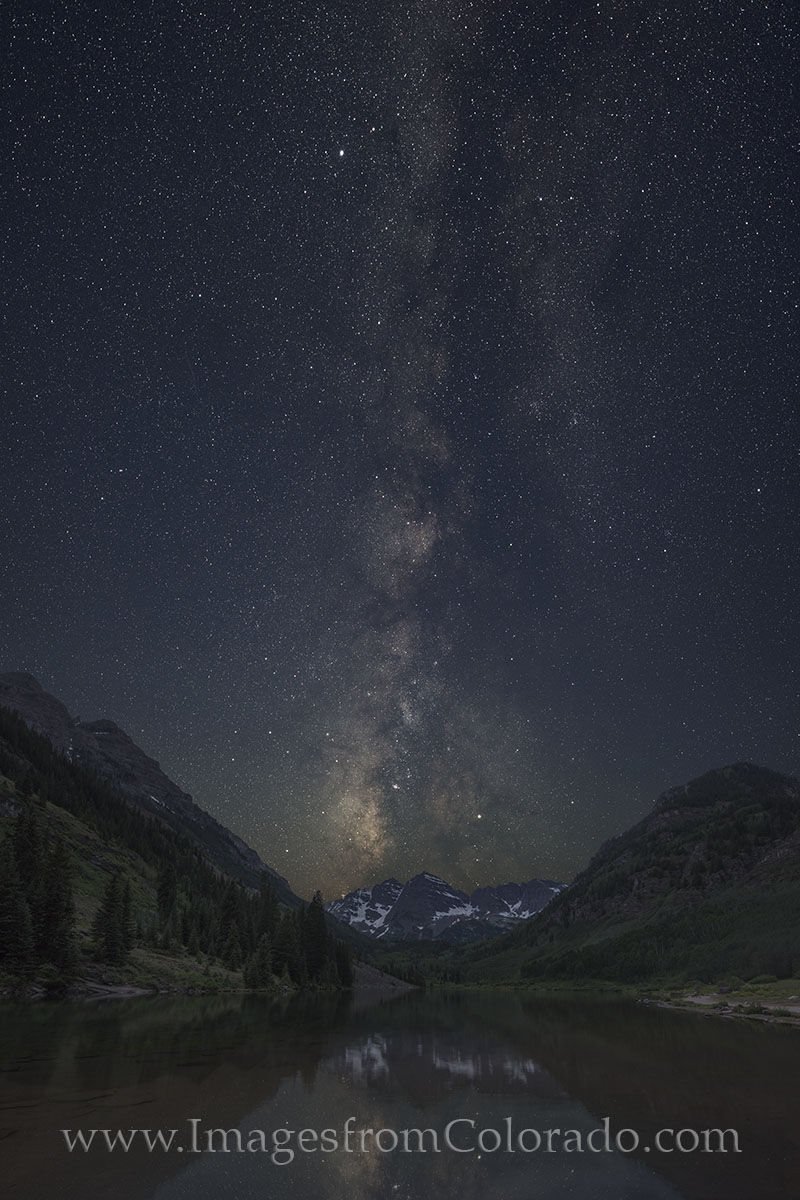 Milky Way over the Maroon Bells in Summer 1