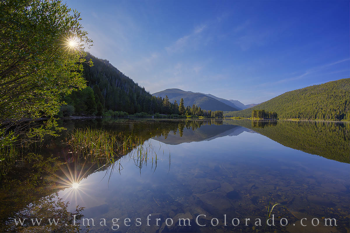monarch lake, grand county, sunrise, morning, calm, rocky mountains, photo