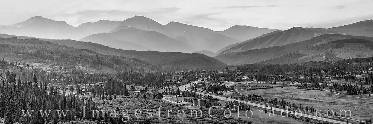 Winter Park rests in low clouds as the mountains of Berthoud Pass - James Peak, Parry Peak, and other 13ers - show up in layers...