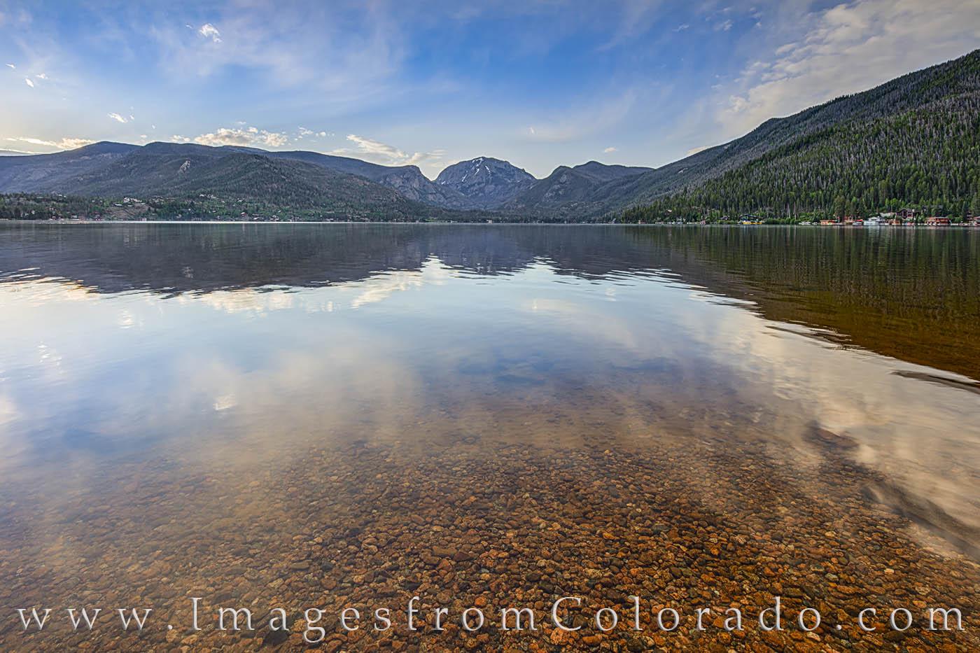 grand lake, point park, mount craig, morning, colorado prints, grand lake prints, mount baldy, summer, photo
