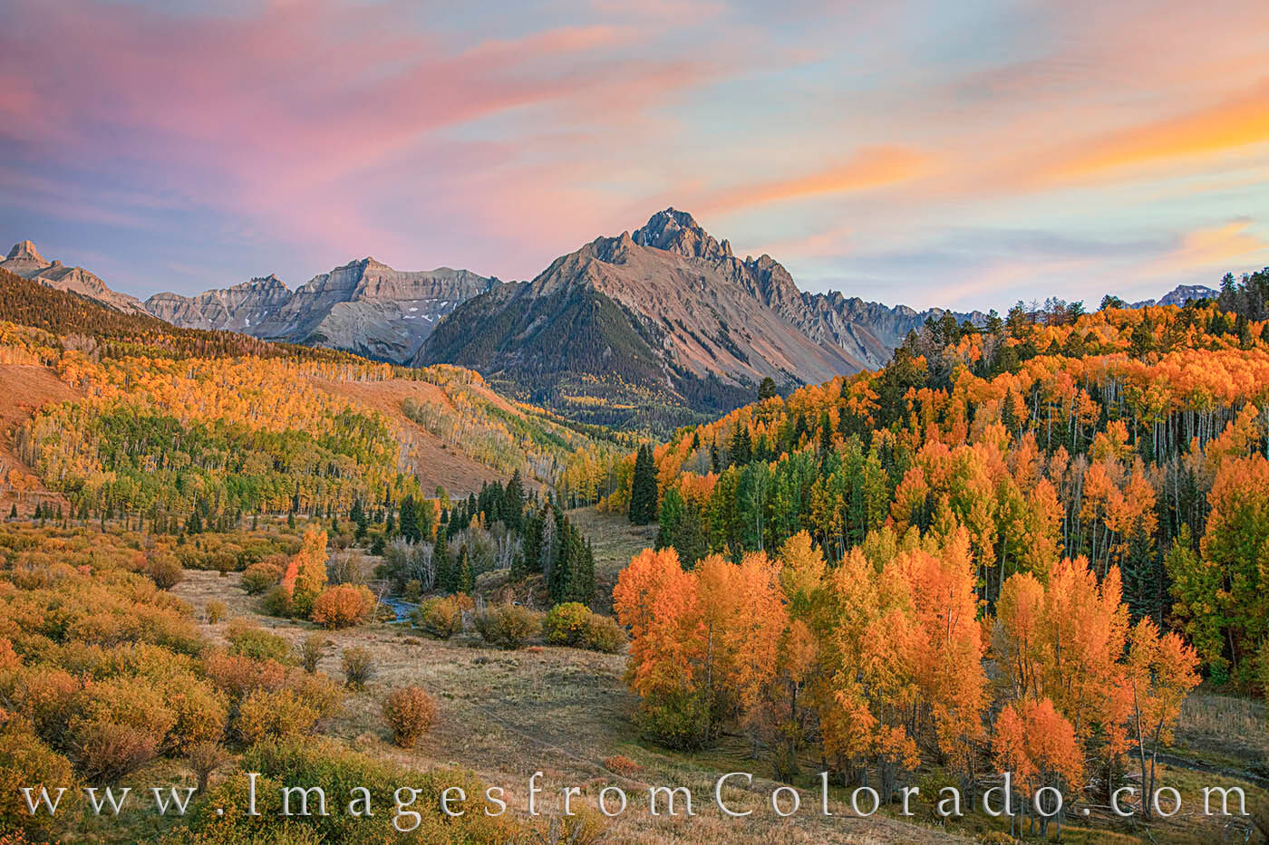 sneffels, autumn, dallas divide, evening, aspen, orange, sunset, fall, october, photo