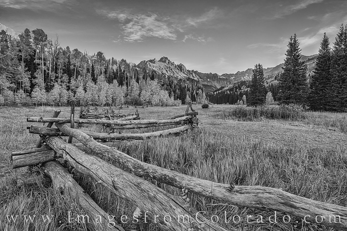 This black and white photograph comes from the Dallad Divide and looks toward the majestic Mount Sneffels as it rises 14,000'...