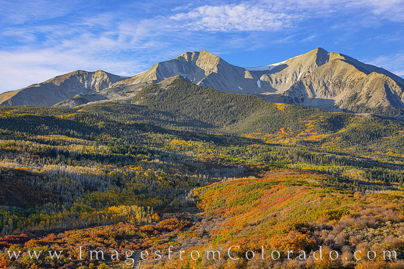 mount sopris, carbondale, autumn, fall, fall prints, autumn prints, colorado prints, morning, gold, orange, october, photo