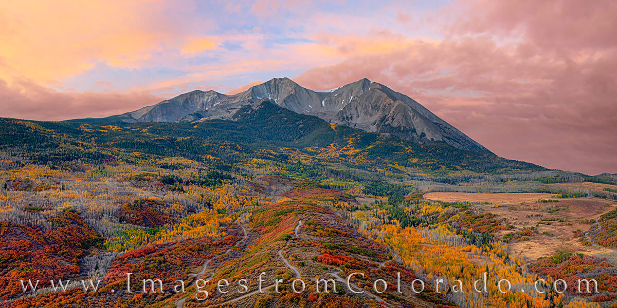 mount sopris, carbondale, aspen, fall, autumn, red, orange, photo