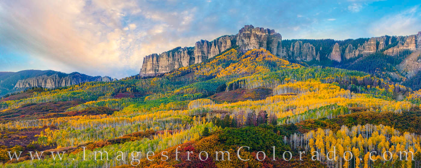 This amazing display of fall color comes from the dirt road leading up to Owl Creek Pass and the Cimarron Ridge. The greens...