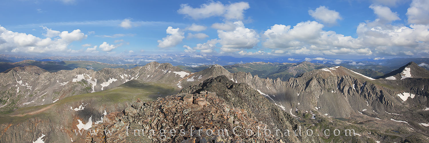 quandary peak, 14er, breckenridge, hiking, hikes, colorado trails, colorado summits, summer, panorama, photo