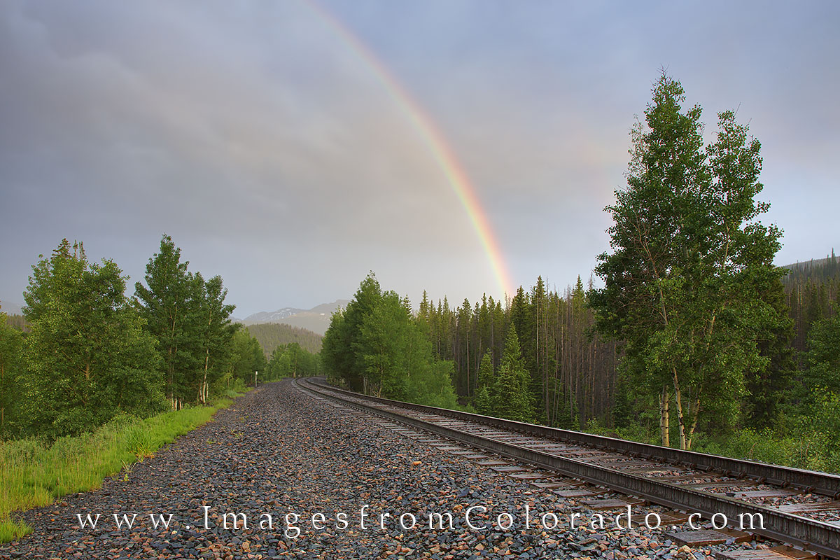 Winter park, fraser, train tracks, railroad, rainbow, storm, train, photo