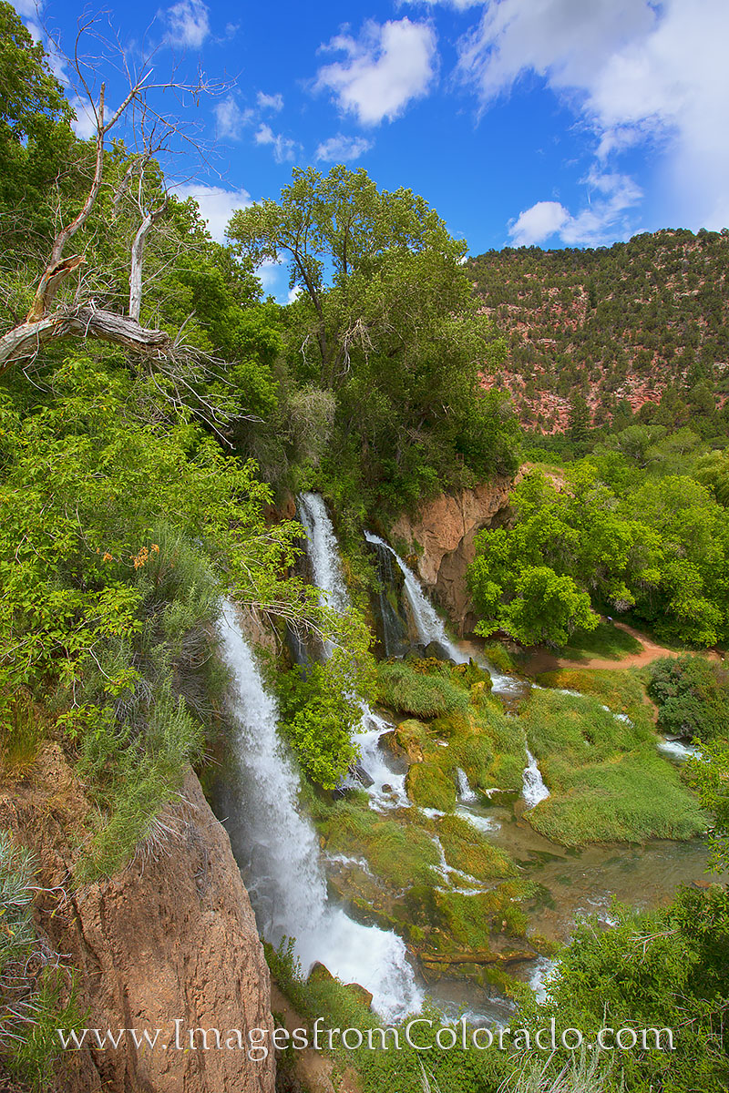 These three watefalls plunge over a 70 foot cliff at Rifle Falls State Park northwest of Glenwood Springs. The exposure time...