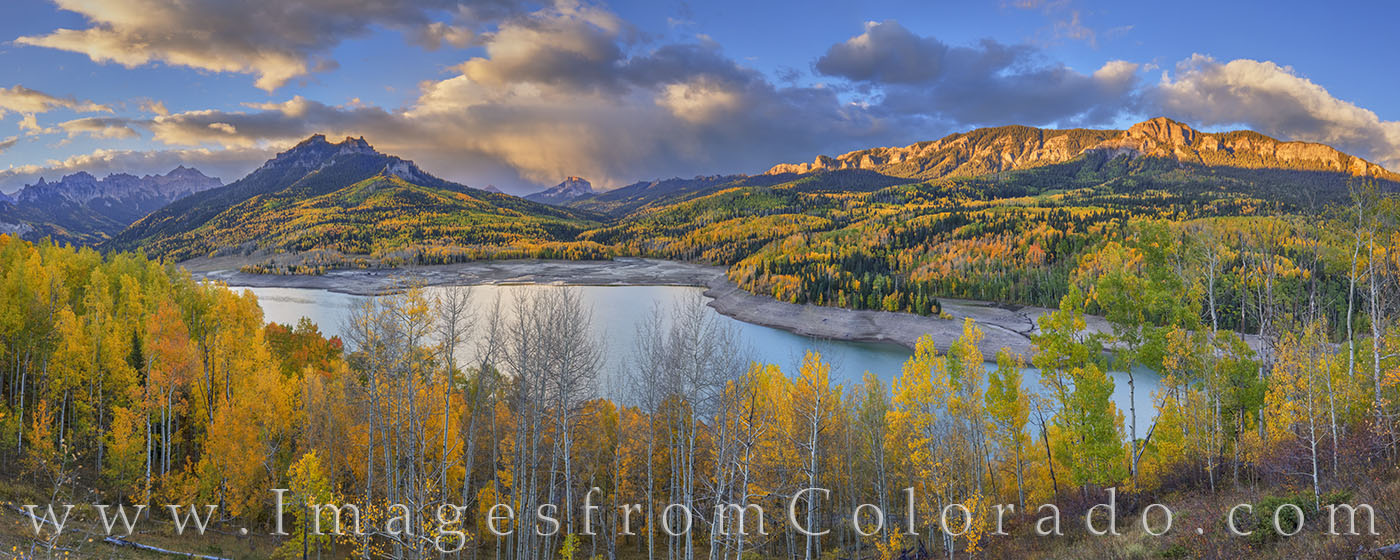 silver jack, fall, autumn, panorama, morning, cimarron ridge, october, aspen, gold, photo