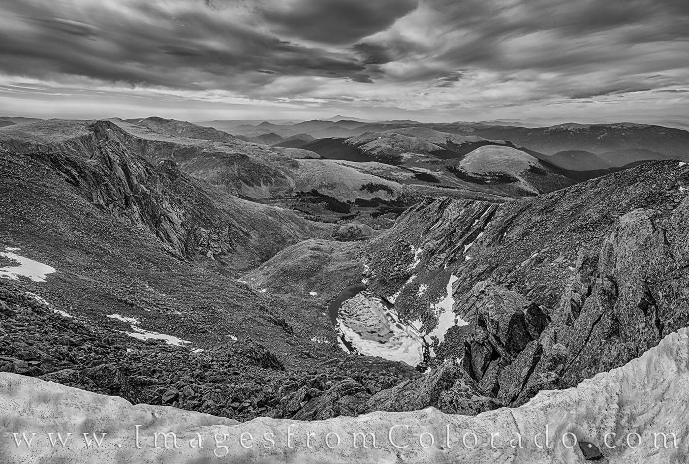 mt bierstadt, 14ers, colorado prints, black and white, hiking, summer, morning, photo