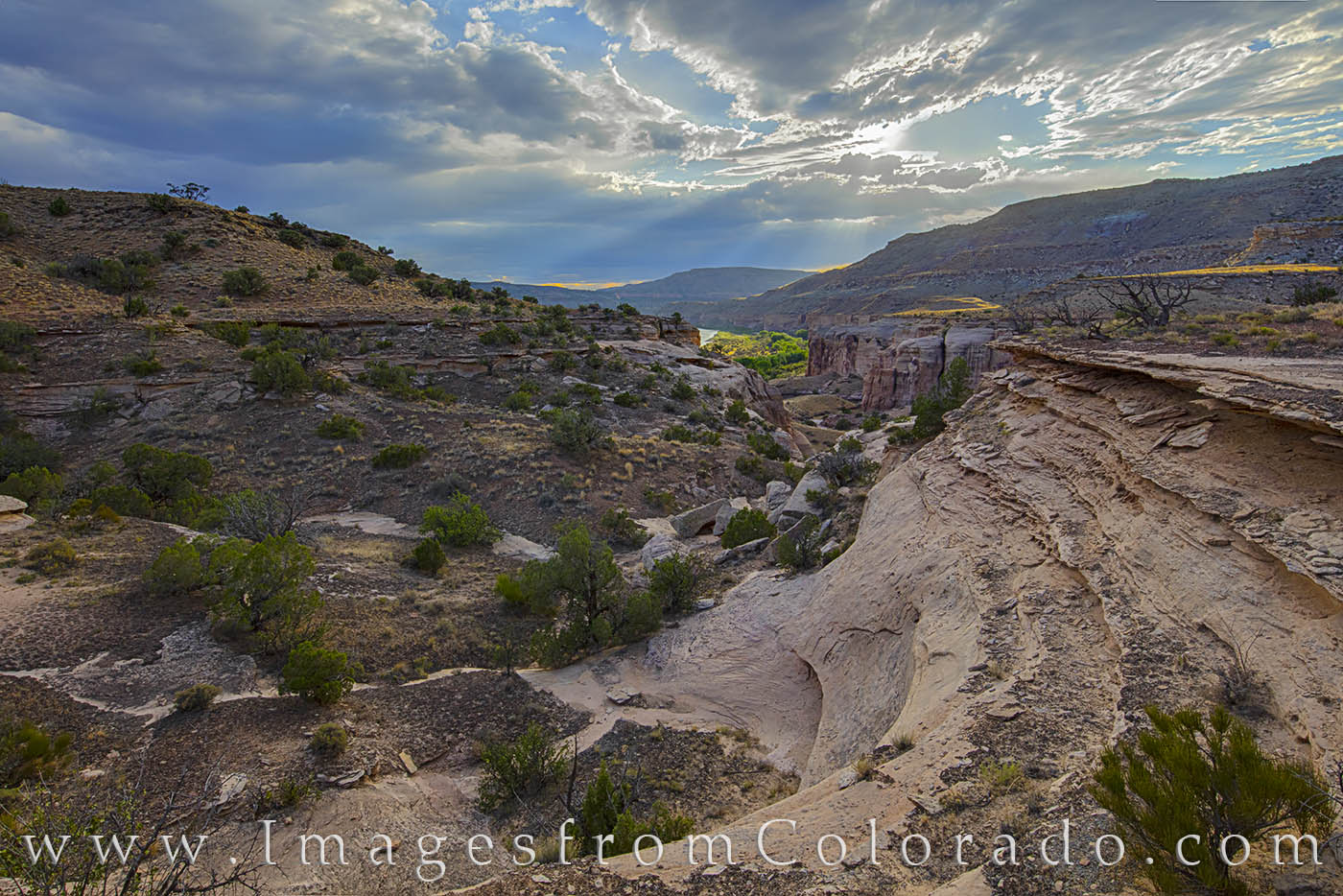 grand junction, kokopelli trail, sunset, colorado river, photo