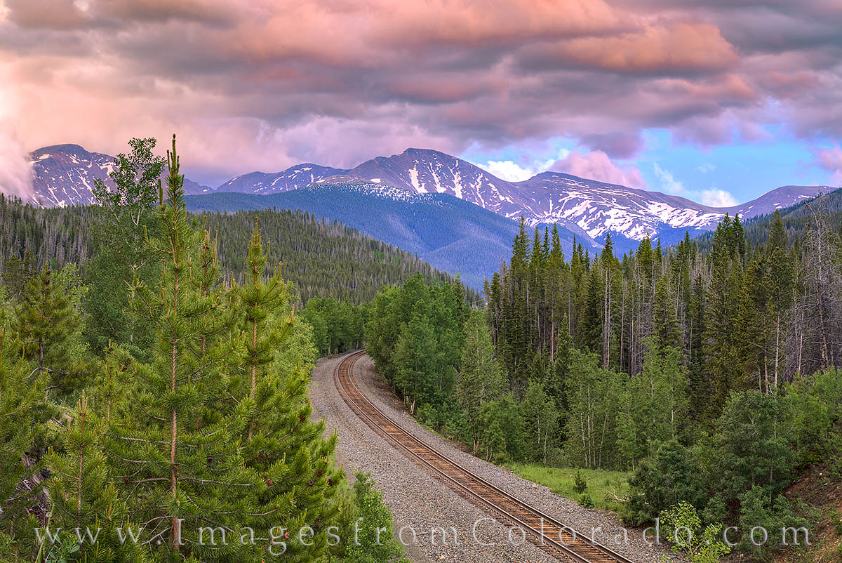 train tracks, parry peak, sunset, winter park grand county, continental divide, berthoud pass, photo