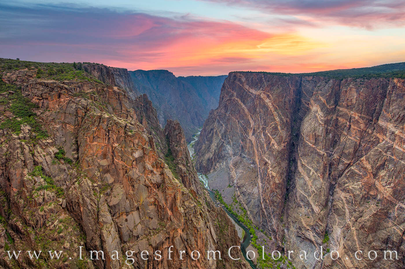 The Painted Wall in the Black Canyon of the Gunnison is one of the most beautiful areas of this national park. The cliffs are...