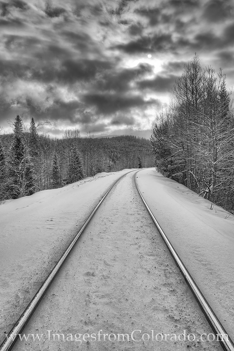 train tracks, winter park, grand county, train, snow, winter, december, black and white, clouds, sun, morning, photo
