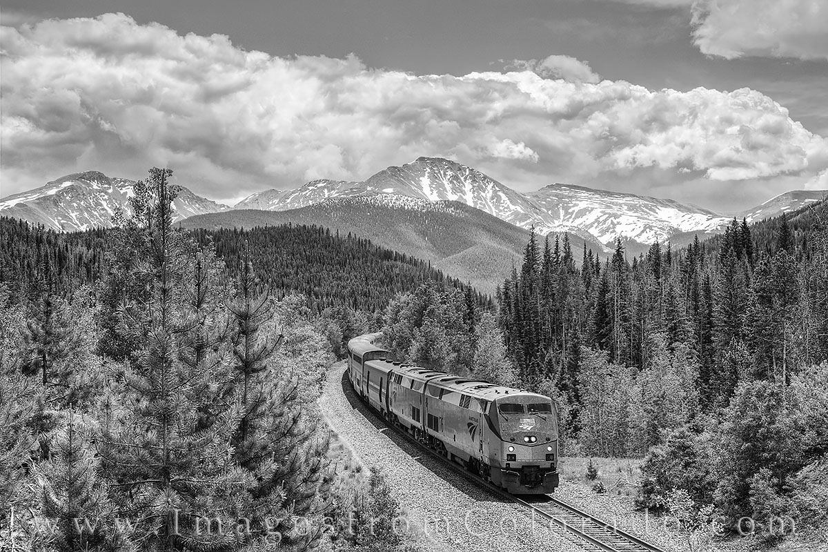 black and white, amtrac, train, parry peak, denver, winter park, fraser, storm clouds, berthoud pass, continental divide, tourism, tourist, travel, summer, photo