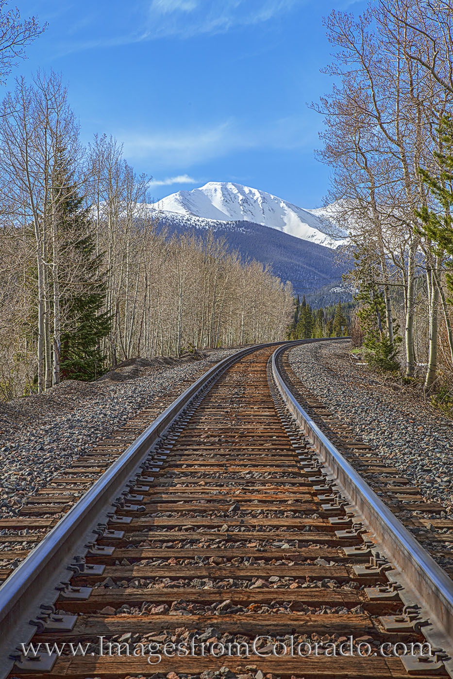 train tracks, winter park, continental divide, parry peak, berthoud pass, tracks, grand county, mountains, spring, snow, photo
