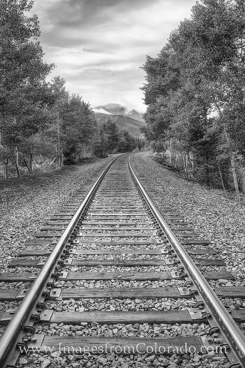 black and white, colorado, train tracks, railroad, winter park, fraser, grand county, berthoud pass, photo